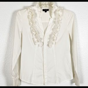 Anne Klein White Blouse Ruffle Long Sleeves M